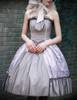 Vintage Retro Womens Midi Dress Corset Strapless Jacquard Dress with Cravat