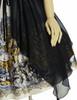 Vintage Retro Fashion Printed Midi Dress Ancient Greek Ethereal Summer Dress Black Ivory
