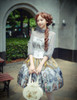 Vintage Lolita Retro Rococo Fashion Midi Skirt Womens Stained Glass Windows Jacquard Skirt