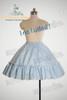 cream dress+ light blue&white stripes skirt