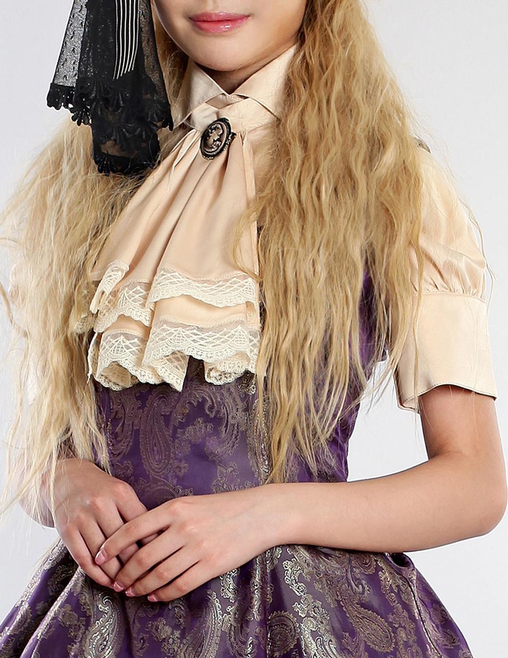 pimpandhost.com Lolitas Night Glory Classic Elegant Lolita Dull Silk Short Sleeves Blouse &  Jabot*3colors Instant Shipping