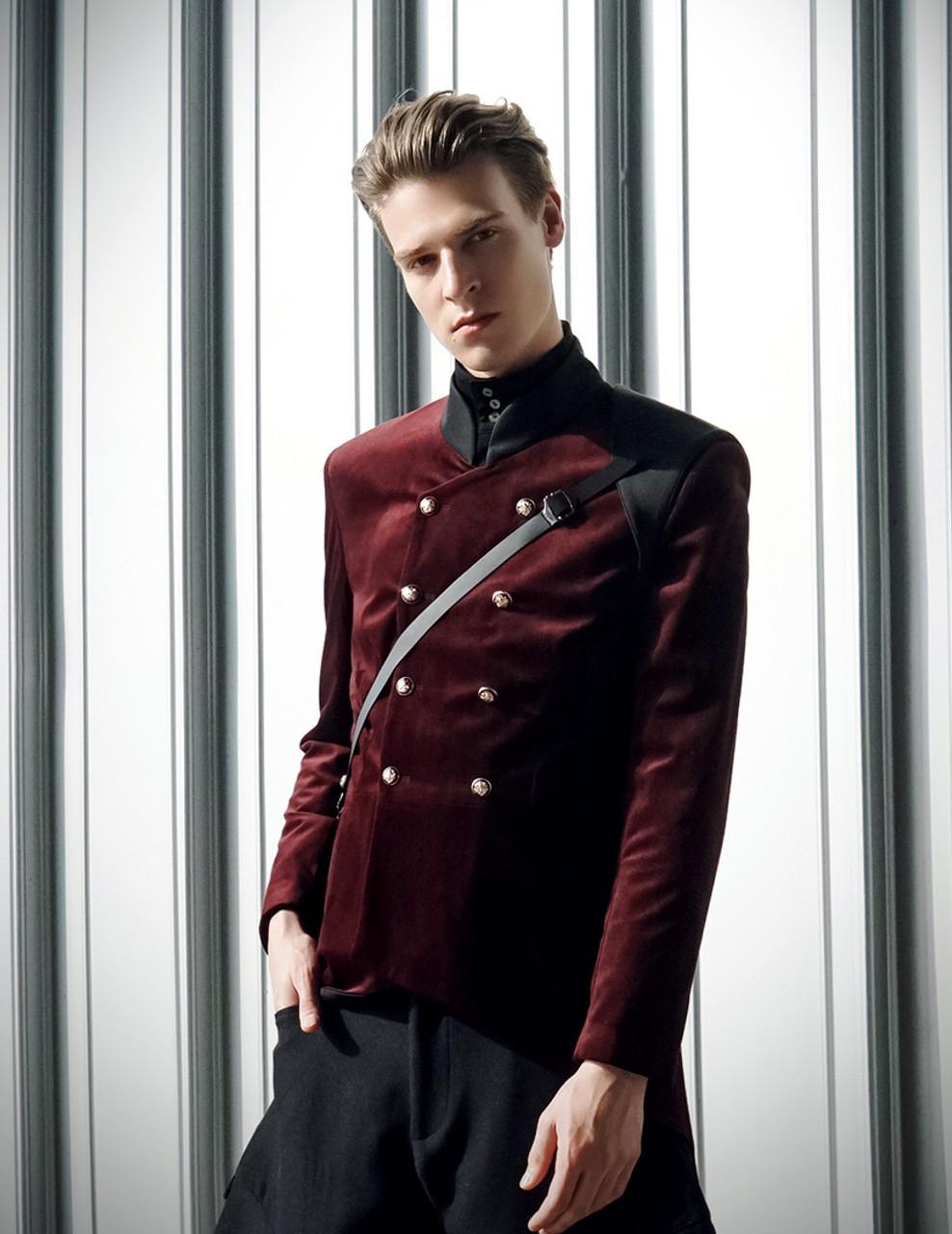 Vintage Military Velvet Mens Jackets Coat Leather Shoulder ...