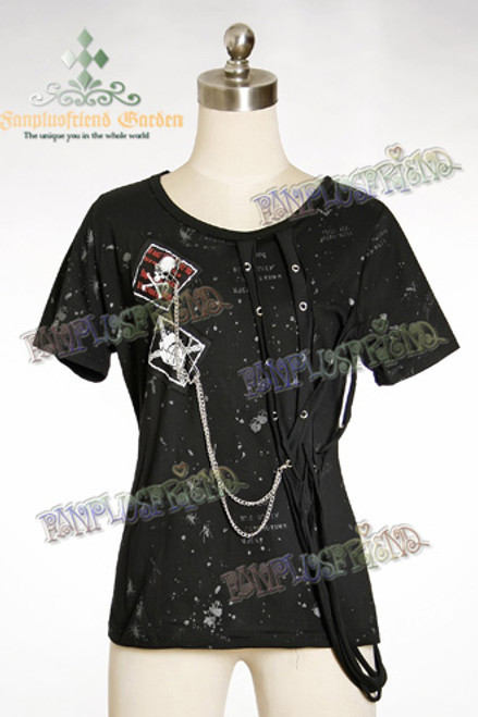 Last Chance: Gothic Punk Cotton Straps Decoration T-Shirt*2colors Instant Shipping