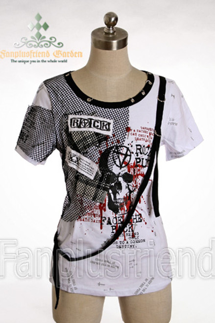 Last Chance: Gothic Punk Mesh Patches Shirt*2colors Instant Shipping