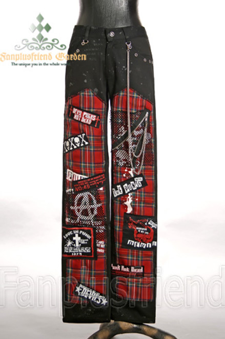 Last Chance: Gothic Punk Red Plaid Patches Pants&Chains*Instant Shipping