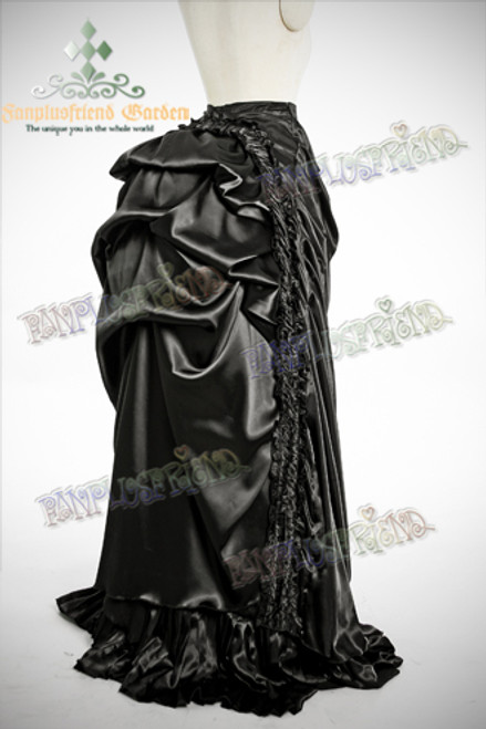 Gothic Victorian Drop Bustle Absinthe Long Skirt