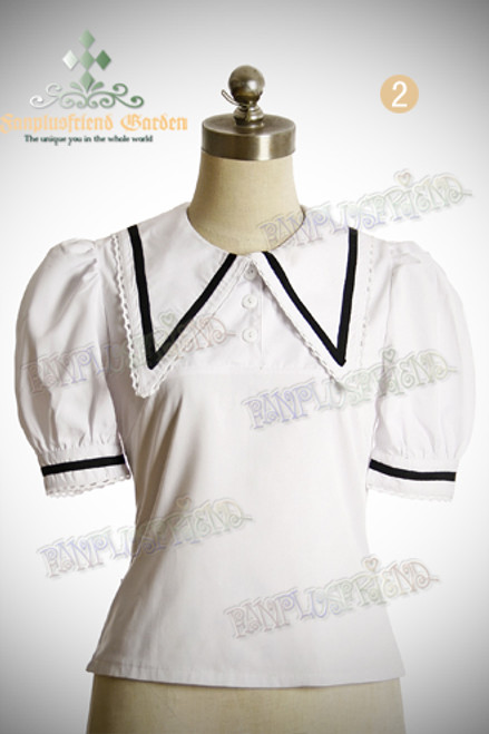 Last Chance: Sailor Lolita Solid Color Short Sleeves Blouse*4colors Instant Shipping
