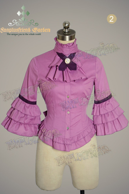 Last Chance: Fire Balloon Adventure Steampunk Lolita: Frill Cuffs Blouse&Ruffle Jabot*2colors Instant Shipping