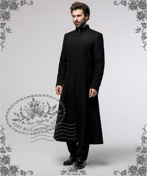 Elegant Gothic Aristocrat Large Cross Wool Long Coat