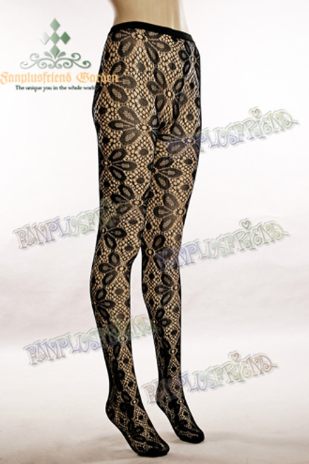 Gothic Lolita Pierced Flower Legging Tights*Black