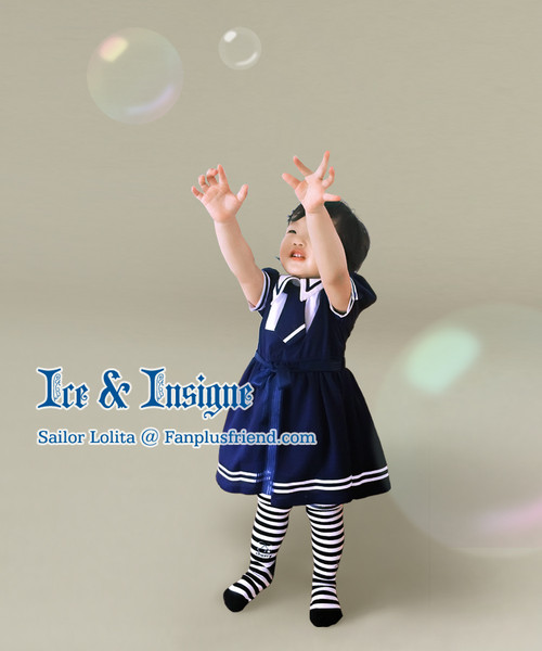 Ice & Insigne, Sailor Lolita Solid Color Short Sleeves OP/Dress*Kids Version*2colors Instant Shipping