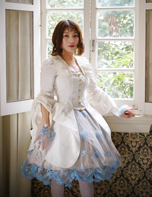 Rococo Lolita Elegant Gothic Jacquard Cotton False 2pcs Jacket*Black Instant Shipping
