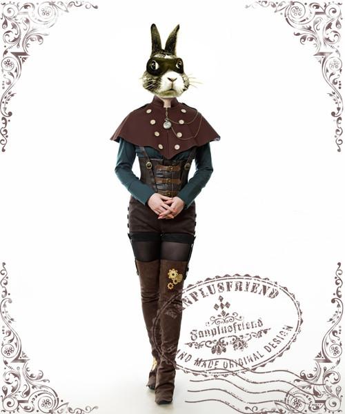 (Solid Brown Suede Version) (cape: CT00228, blouse: TP00139, corset: Y00037, leggings: P00182)