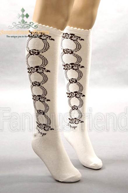 Punk Lolita Loops & Roses Under-Knees Stockings*White