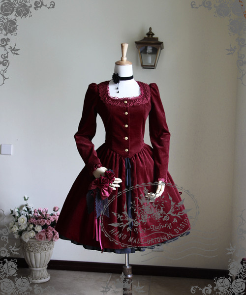 Front View (Burgundy Ver.) (choker: AD00606, hairdress in hand: P00542, skirt underneath: V00002N, birdcage petticoat: UN00019)