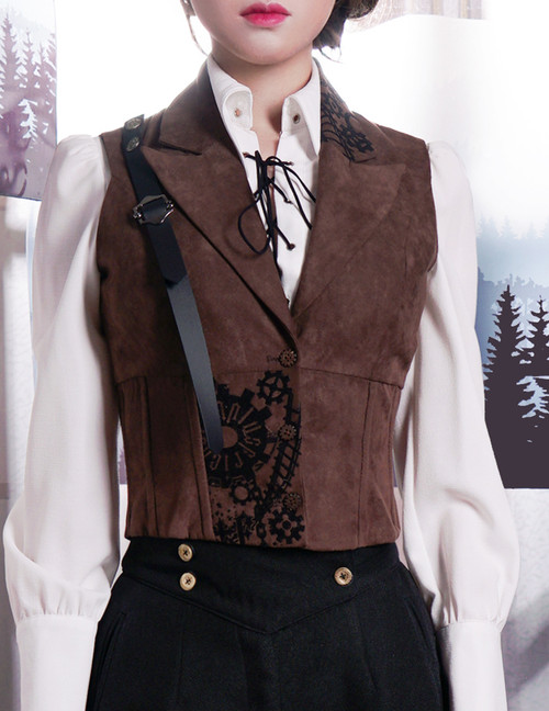 Steampunk Steel Boned Suedette Corset Vest*Instant Shipping