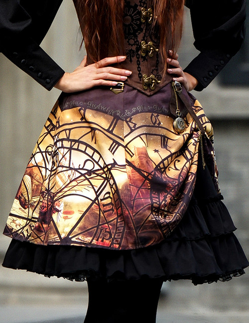 Steampunk Print High Waist 2-Way Knee Length Gathered Buckle Skirt*Instant Shipping
