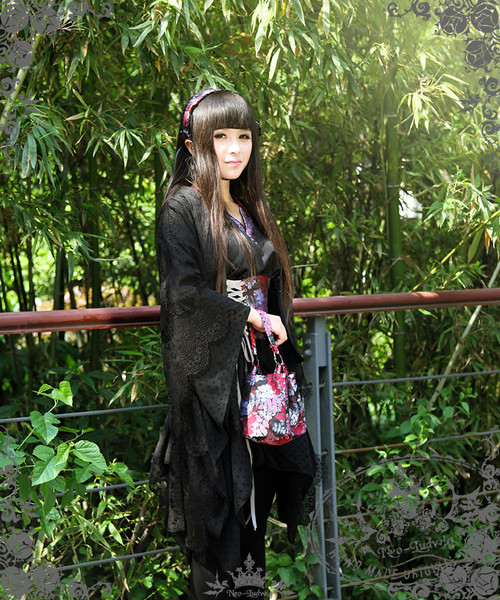 Magic Emissary, Punk Wa Style Anthemy Black Kimono/Yukata Outfit*6pcs Instant Shipping