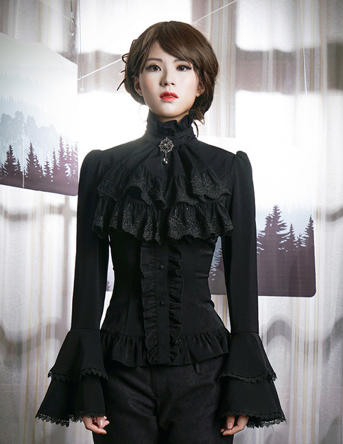Gothic Ruffle Neck Long Sleeve Shirt Blouse Jabot Zircon Set Retro Pirate Fashion White Black