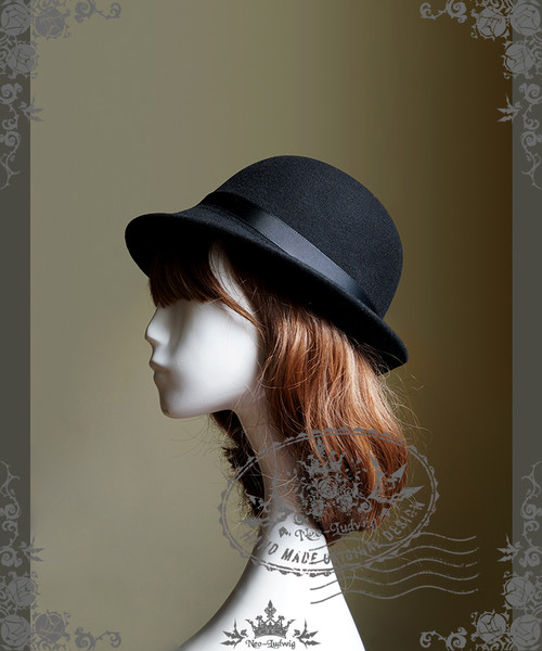 The Sacred Academy of Alexandria, Elegant Gothic Lolita Academic Scholastic Wool Bowler Hat*Black
