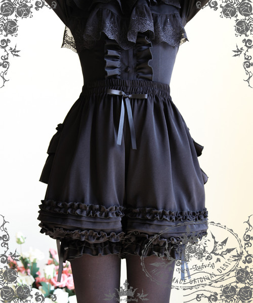 Gothic Lolita Tiered Bustle Ruffle Bloomers*2color Instant Shipping