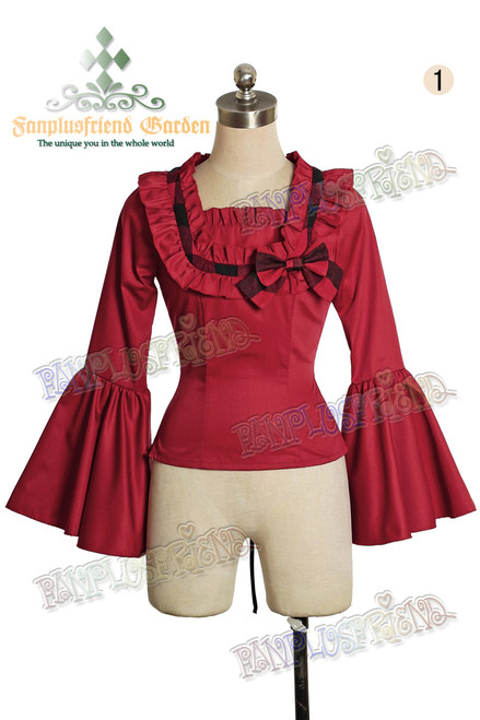 Last Chance: Celtic love Pirate Lolita Frilly Cuffs Lacing Up Back Blouse*Lady 80 Burgundy Instant Shipping