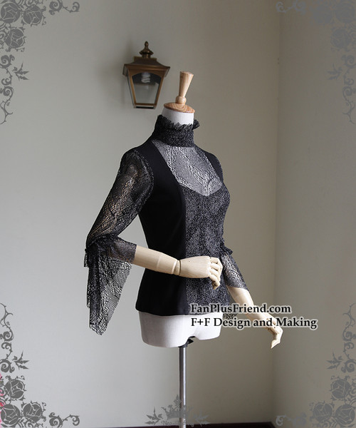 Side View (Black + Silver Black Mixed Lace Ver.)