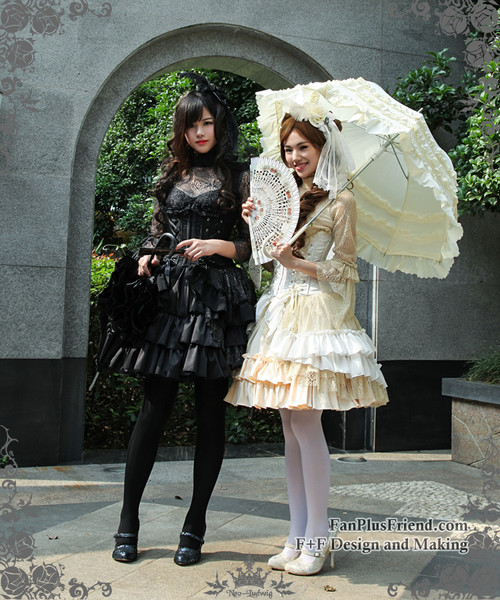 Model Show (hair dress: P00607, cutsew: TP00101N, fan: P00580, ivory pannier bloomers: UN00024, black skirt: SP00138, black leggings: P00182, white leggings: P00187)