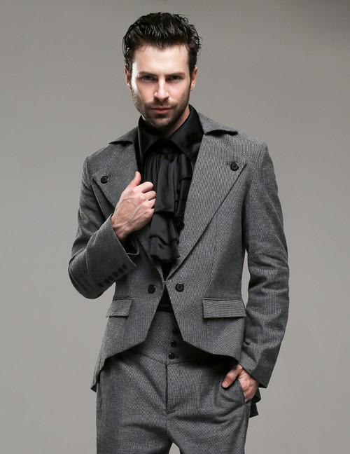 Belle Epoque, Elegant Dandy Victorian Low Neckline Coattail Jacket for Man*Man M Instant Shipping