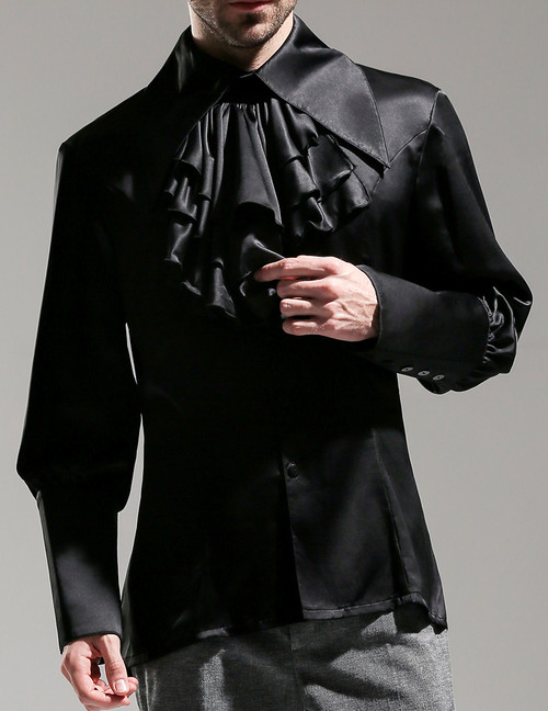 Silence Lonely, Elegant Gothic Large Peak Collar Long Cuffs Shirt & Jabot for Man*3colors Man M Instant Shipping