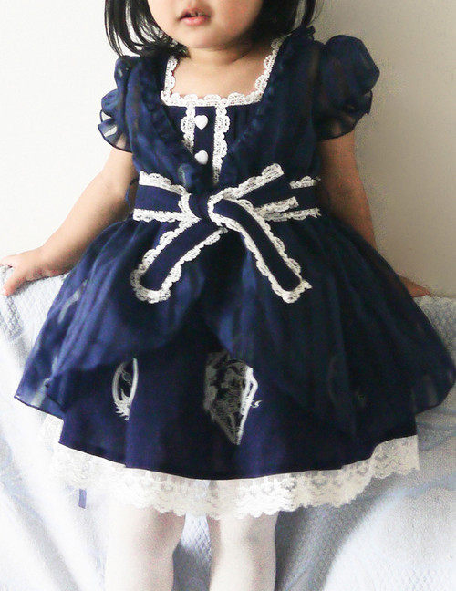 Bunny Alice Lolita Parent-Child Clothes 4pcs Dress & Hairbow Set*Kids Version 2colors Instant Shipping
