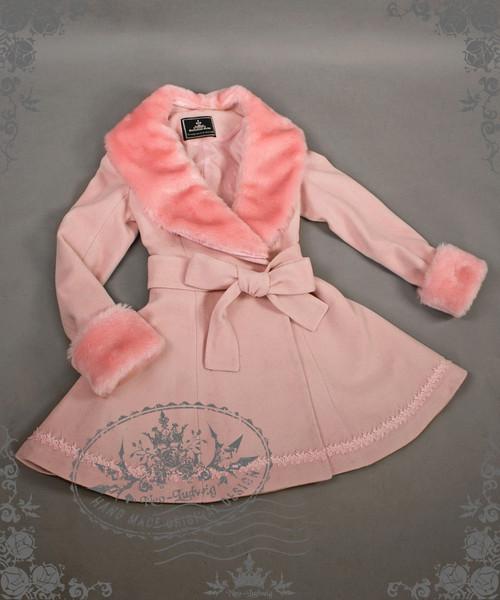 Special Offer: Elegant Gothic Lolita Fur Lapel Corset Medium Long Wool Coat* Lady 75 Pink Instant Shipping