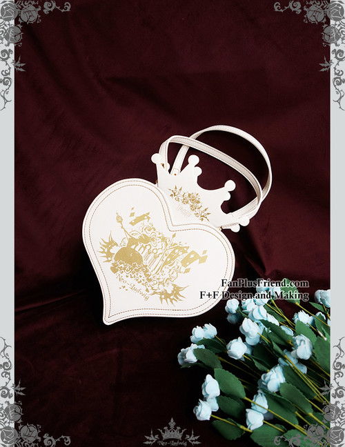 The Queen's Throne, Alice Lolita Steampunk Large Print Handcrafted Heart Shape Bag/Tote*White