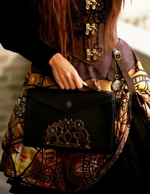 Steel Rose, Steampunk Gothic Dandy Fake Leather Envelope Bag/Tote for Man*Black