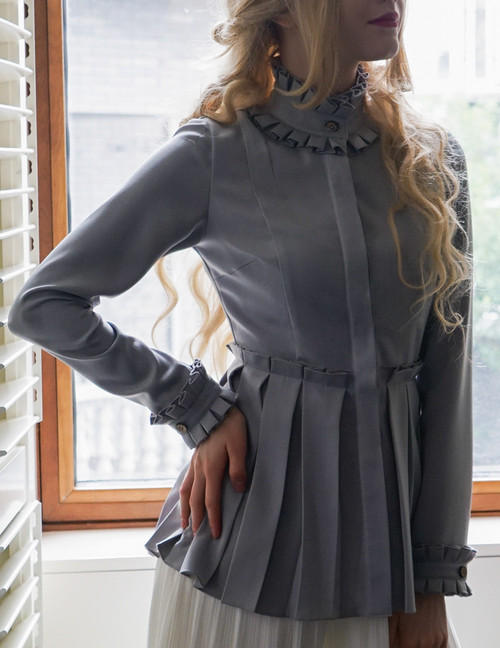 Steel Rose, Elegant Gothic Steampunk Pleated Stand Collar Blouse*3colors Instant Shipping