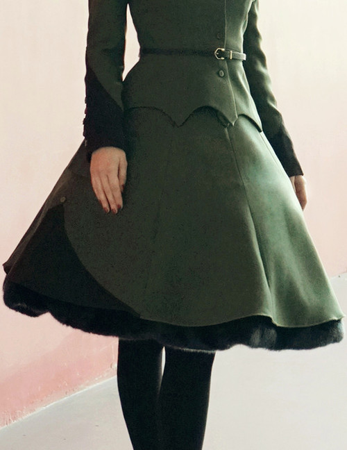 Steel Rose, Military Lolita Steampunk Double-Layer Uniform Skirt*2colors Instant Shipping
