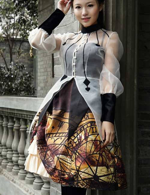 Steampunk Midi Dress Printed Jumper Skirt Dress Blouse Set