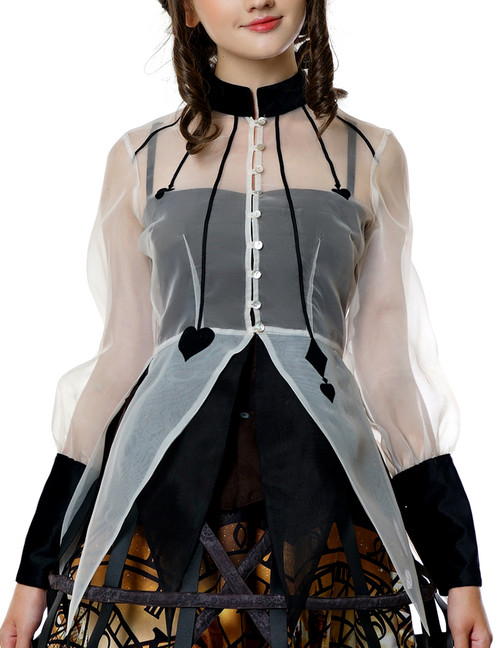 Beyond the End of Time, Gothic Poker Flocking Organdy Blouse*Instant Shipping