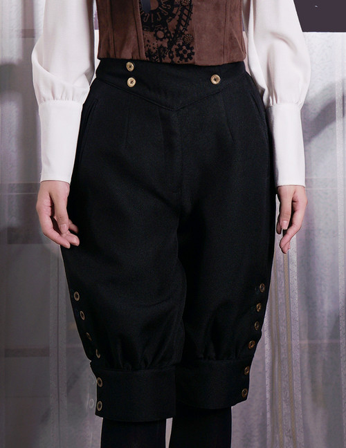 Steampunk Riding Breeches High Waisted Shorts Black Shorts