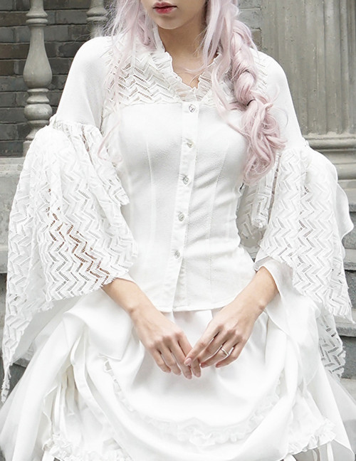 Elegant Gothic Rococo Robe Cape 2-Way Sleeves Blouse*2colors Instant Shipping