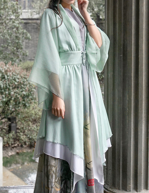 Vintage/Lolita Fashion Kimono Jacket Irregular Length Gown*black,grey,moon white, aqua