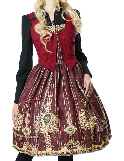 Elegant Gothic Rococo False 2pcs JSK/OP*4colors Instant Shipping