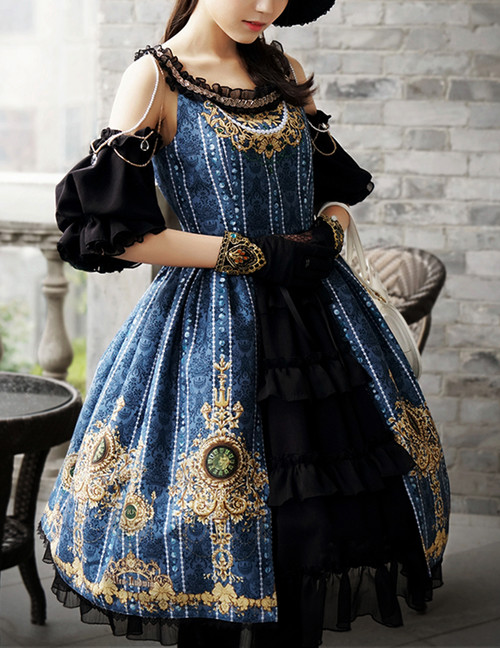 Elegant Gothic Rococo 4pcs Dress Set*4colors Instant Shipping