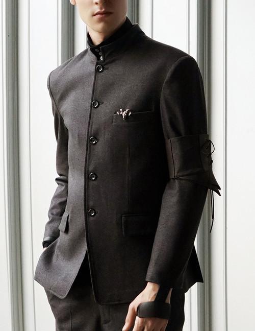 Vintage Men Coat Jacket Leather Armband Set Grey Punk Pirate Retro Fashion