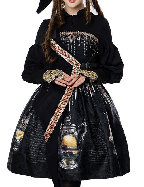 The Whale Bones Bay-Jug Treasure, Gothic Pirate Steampunk False 2pcs JSK/OP & Petticoat Set*2colors Instant Shipping