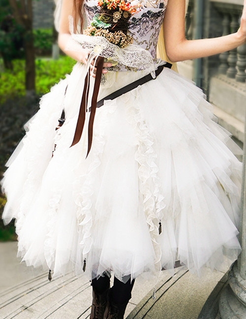 Steel Rose, Steampunk Wedding Bride Tiered Soft Tulle Skirt & Handmade Bustle Belt