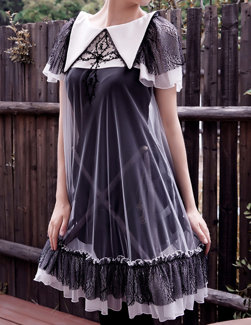 Silent Hill, Gothic Short Sleeves Double-Layer Romper Dress Set*Instant Shipping