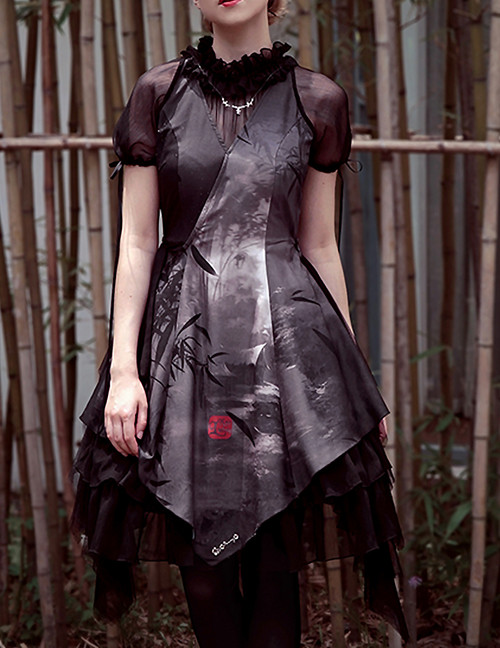 Shadow Grove, Qi Style Short Sleeves False 2pcs Dress & Bustle Skirt Piece*3colors