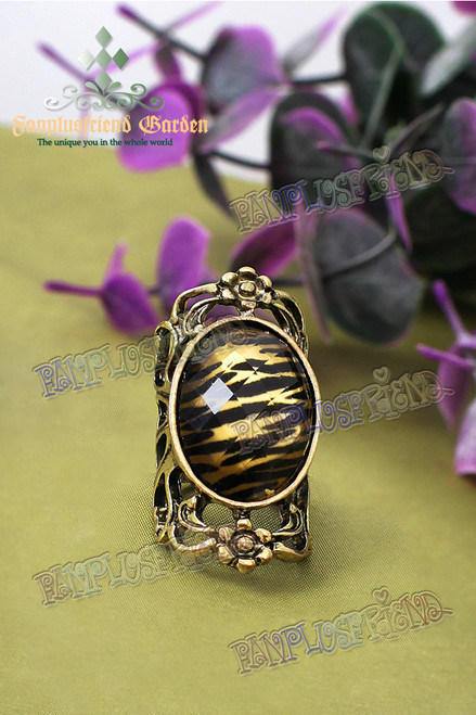 Gothic Tiger-Skin Print Jewel Ring