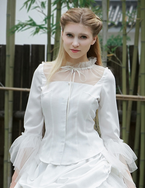 None in Circus, Elegant Gothic 2-Way Collar & Sleeves Blouse*2colors Instant Shipping